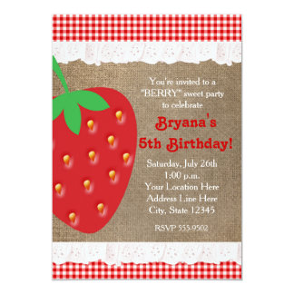 Country Strawberry Red Gingham Ruffle Invitation