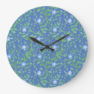 Country-style Blue Green Floral Periwinkle Pattern Wall Clocks