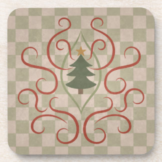 Country style colors Christmas tree and red swirls Beverage Coasters