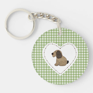 Country Style Green Gingham Patchwork Dog Double-Sided Round Acrylic Key Ring
