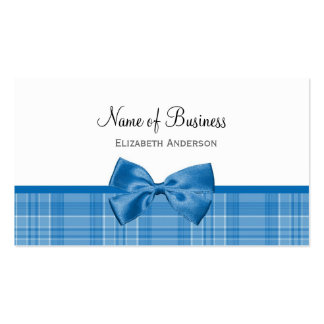 Country Style Plaid Pattern With Girly Blue Bow Business Cards