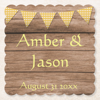 Country Style Rustic Sunflower and banners Paper Coaster