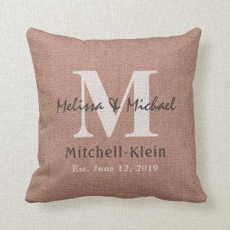 Country Style Wedding Monogram Faux Burlap Throw Pillow