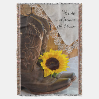 Country Sunflower and Lace Western Wedding Throw Blanket