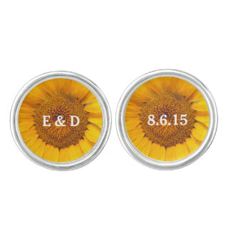 Country Sunflower Bride & Groom Wedding Cufflinks