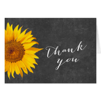 Country Sunflower Chalkboard Baby Shower Thank You Card