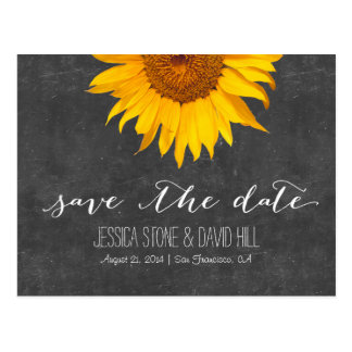 Country Sunflower Chalkboard Wedding Save the Date Postcard