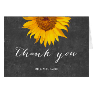 Country Sunflower Chalkboard Wedding Thank You Card