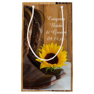 Country Sunflower Congratulations Western Wedding Small Gift Bag