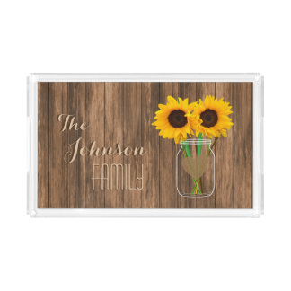 Country Sunflower Mason Jar Acrylic Tray