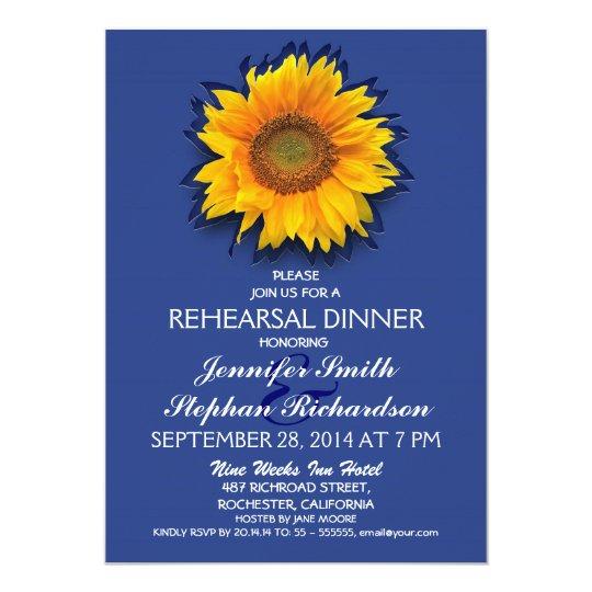 country sunflower navy rehearsal dinner invitation