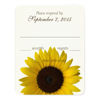Country Sunflower Response Card 11 Cm X 14 Cm Invitation Card