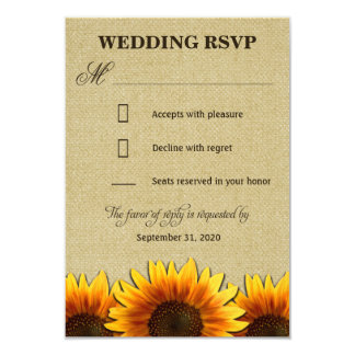 Country Sunflower Rustic Burlap Wedding RSVP Cards 9 Cm X 13 Cm Invitation Card