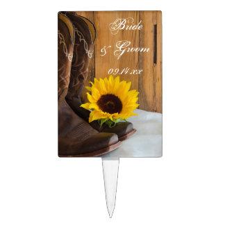 Country Sunflower Wedding Cake Topper