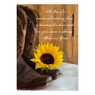 Country Sunflower Wedding Charity Favor Card Pack Of Chubby Business Cards