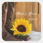 Country Sunflower Wedding Envelope Seals Stickers