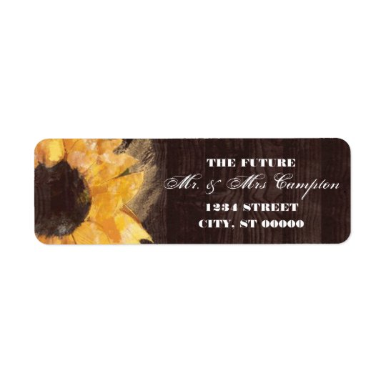 Country Sunflower Wedding Label