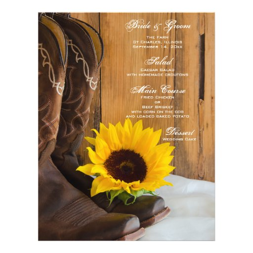 Country Sunflower Wedding Menu Personalized Flyer