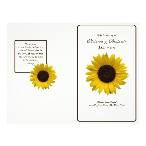 Country Sunflower Wedding Program Personalized Flyer