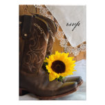 Country Sunflower Wedding Response Card Personalized Invite