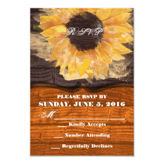 Country Sunflower Wedding RSVP 9 Cm X 13 Cm Invitation Card