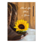 Country Sunflower Wedding Thank You Notes Invitation