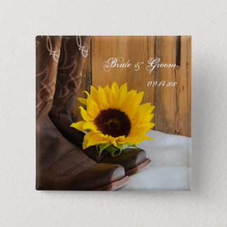 Country Sunflower Western Wedding 15 Cm Square Badge