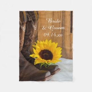 Country Sunflower Western Wedding Fleece Blanket