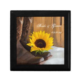 Country Sunflower Western Wedding Keepsake Small Square Gift Box