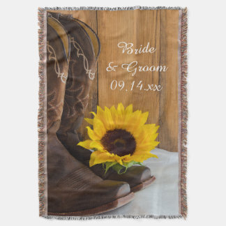 Country Sunflower Western Wedding Keepsake Throw Blanket