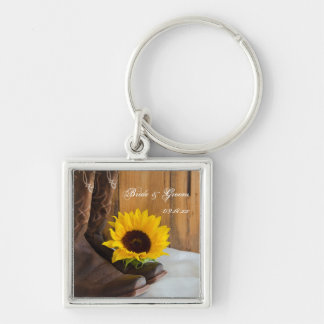 Country Sunflower Western Wedding Key Ring