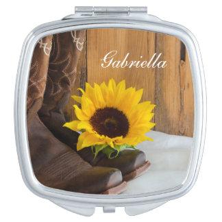 Country Sunflower Western Wedding Makeup Mirror