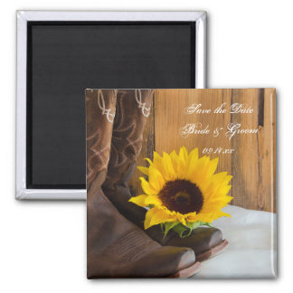 Country Sunflower Western Wedding Save the Date Square Magnet