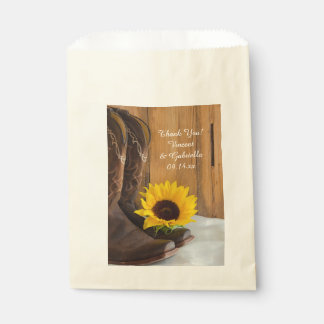 Country Sunflower Western Wedding Thank You Favour Bags