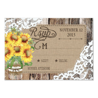 Country Sunflower Wood Lace Rustic RSVP Card 9 Cm X 13 Cm Invitation Card