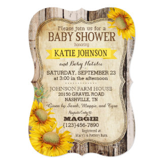 Country Sunflowers and Rustic Wood Baby Shower Card