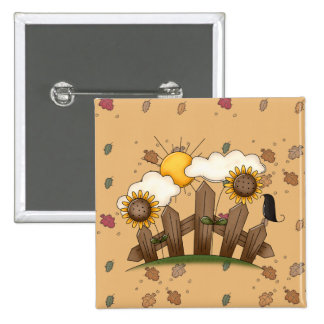 country sunflowers 15 cm square badge