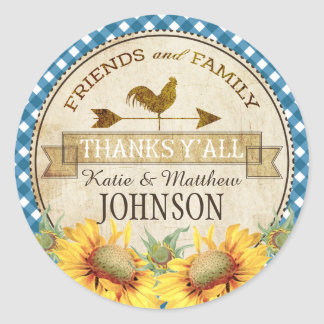 Country Sunflowers Blue Gingham Check Thank You Round Sticker