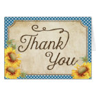 Country Sunflowers Gingham Check Rustic Thank You