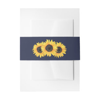 Country Sunflowers on Blue Belly Band Invitation Belly Band