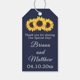 Country Sunflowers on Blue Favours Gift Tag