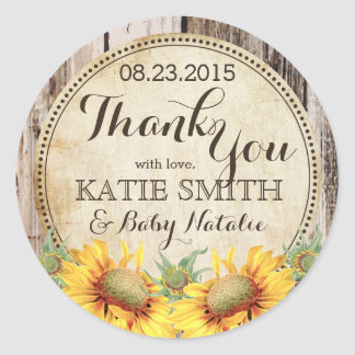 Country Sunflowers Rustic Wood Thank You Label Round Sticker