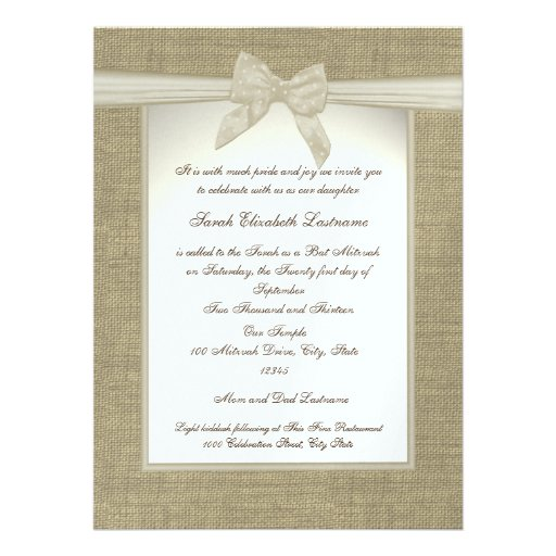 Country Sweetheart Bat Mitzvah Invitations