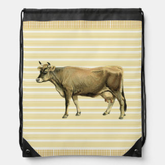 Country Tan Cow Beige Stripe Gingham Check Design Backpack