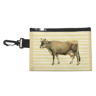 Country Tan Cow Beige Stripe Gingham Check Design Accessory Bag