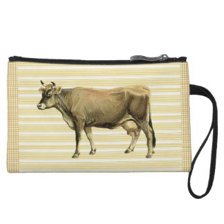 Country Tan Cow Beige Stripe Gingham Check Design Wristlet Purse