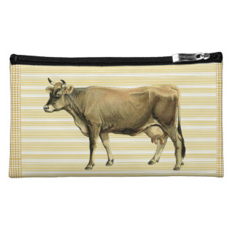 Country Tan Cow Beige Stripe Gingham Check Design Makeup Bags