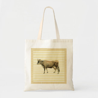 Country Tan Cow Beige Stripe Gingham Check Design Budget Tote Bag