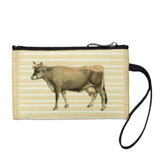 Country Tan Cow Beige Stripe Gingham Check Design Coin Purse