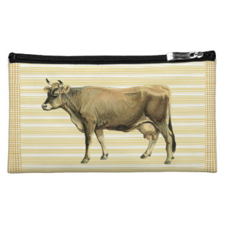 Country Tan Cow Beige Stripe Gingham Check Design Cosmetic Bags